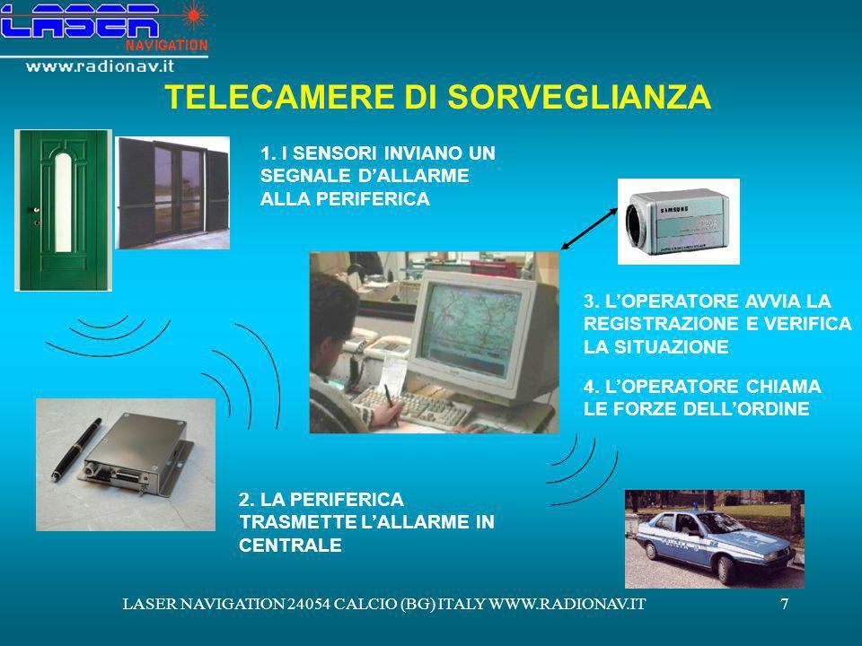 LASER NAVIGATION 24054 CALCIO (BG) ITALY WWW.RADIONAV.IT8 SERVIZIO DI MONITORAGGIO VIA INTERNET (SISTEMA SAFECAM) OLTRE AI NORMALI SERVIZI DI CENTRALE OPERATIVA PRECEDENTEMENTE DESCRITTI SIAMO IN GRADO DI OFFRIRVI UNA SERIE DI SERVIZI VIA INTERNET ATTRAVERSO I QUALI VOI STESSI POTRETE CONTROLLARE IN TEMPO REALE: LO STATO DEI SENSORI ANTI INTRUSIONE LE TELECAMERE DI SICUREZZA (SISTEMA SAFECAM)