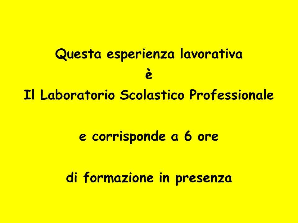 Questa esperienza lavorativa è Il Laboratorio Scolastico Professionale e corrisponde a 6 ore di formazione in presenza