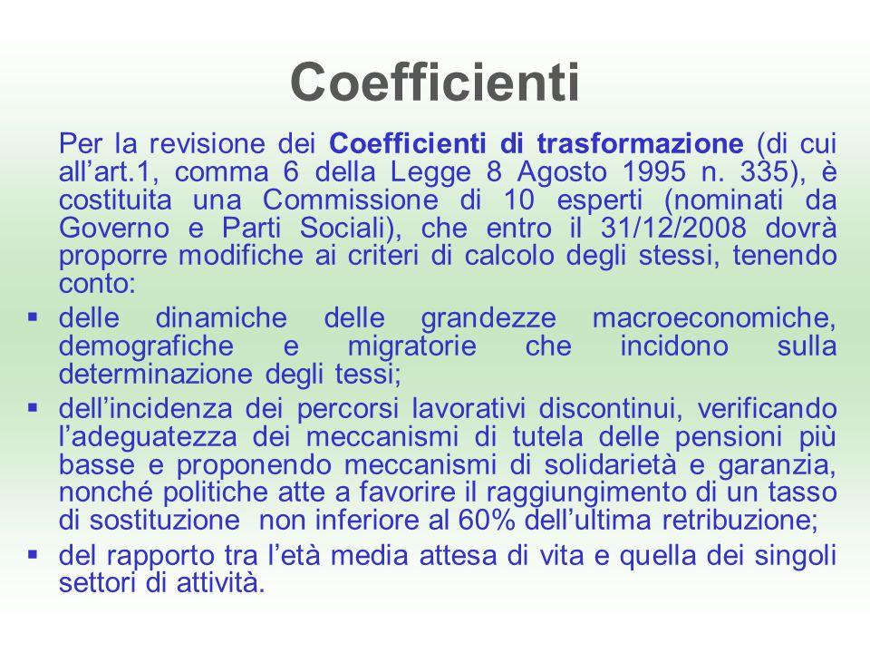 Coefficienti Per la revisione dei Coefficienti di trasformazione (di cui allart.1, comma 6 della Legge 8 Agosto 1995 n.