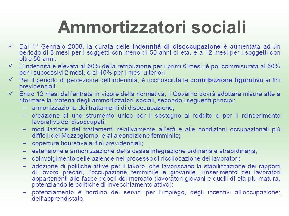 Ammortizzatori sociali Dal 1° Gennaio 2008, la durata delle indennità di disoccupazione è aumentata ad un periodo di 8 mesi per i soggetti con meno di 50 anni di età, e a 12 mesi per i soggetti con oltre 50 anni.
