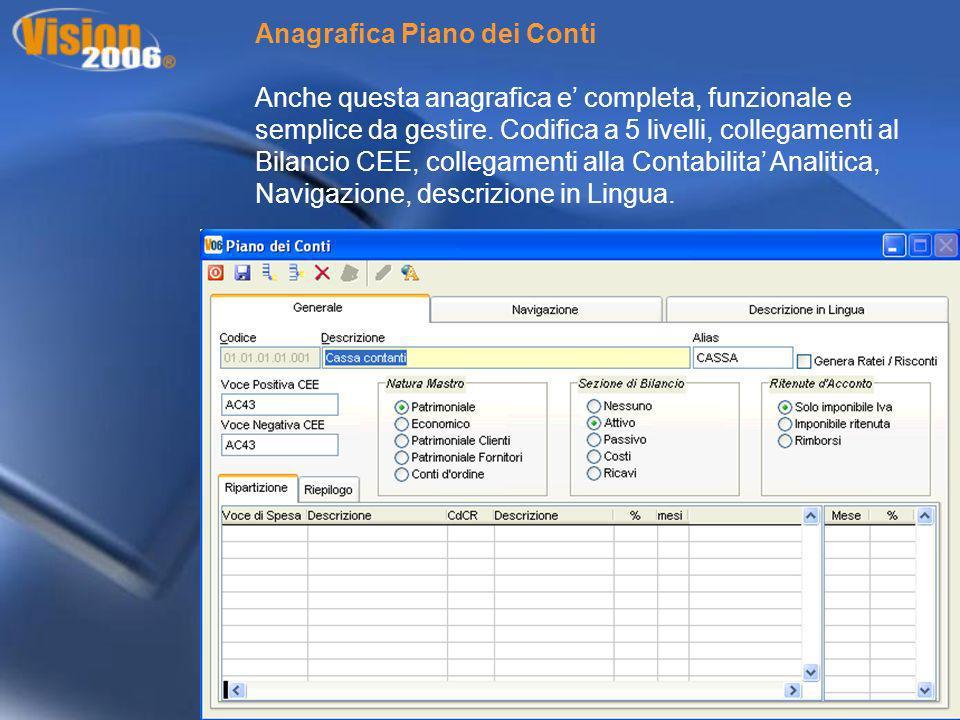 Anagrafica Piano dei Conti Anche questa anagrafica e completa, funzionale e semplice da gestire. Codifica a 5 livelli, collegamenti al Bilancio CEE, c