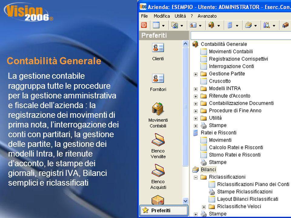 Contabilità Generale La gestione contabile raggruppa tutte le procedure per la gestione amministrativa e fiscale dellazienda : la registrazione dei mo