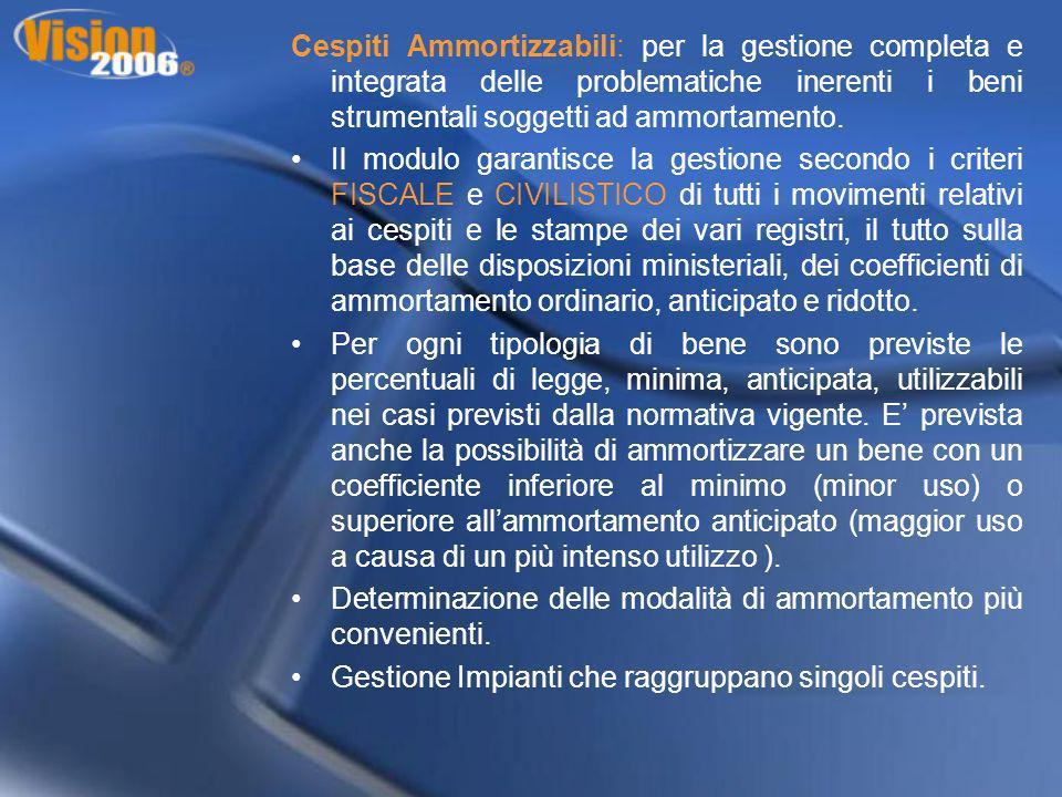 Cespiti Ammortizzabili: per la gestione completa e integrata delle problematiche inerenti i beni strumentali soggetti ad ammortamento. Il modulo garan