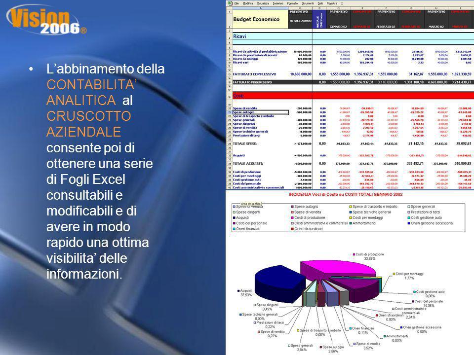Labbinamento della CONTABILITA ANALITICA al CRUSCOTTO AZIENDALE consente poi di ottenere una serie di Fogli Excel consultabili e modificabili e di ave