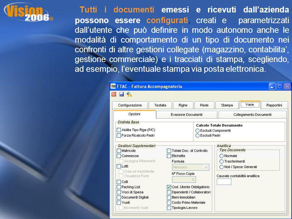 Tutti i documenti emessi e ricevuti dallazienda possono essere configurati, creati e parametrizzati dallutente che può definire in modo autonomo anche