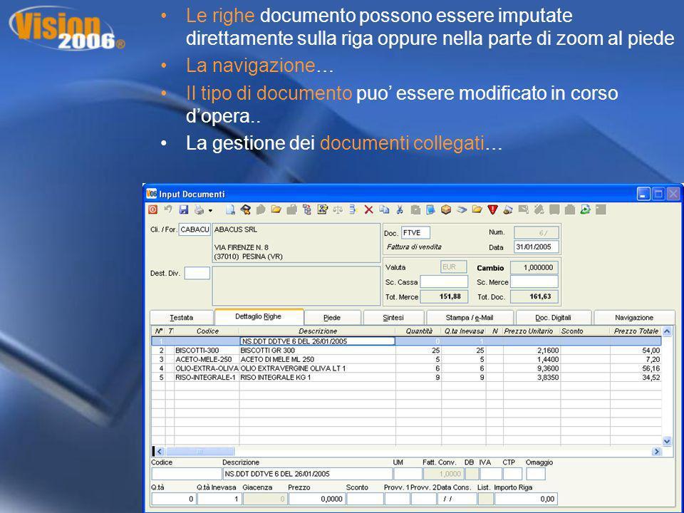 Le righe documento possono essere imputate direttamente sulla riga oppure nella parte di zoom al piede La navigazione… Il tipo di documento puo essere
