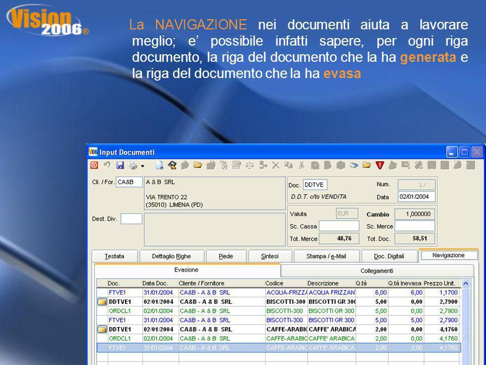 La NAVIGAZIONE nei documenti aiuta a lavorare meglio; e possibile infatti sapere, per ogni riga documento, la riga del documento che la ha generata e