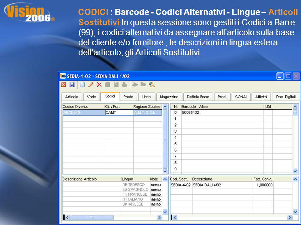 CODICI : Barcode - Codici Alternativi - Lingue – Articoli Sostitutivi In questa sessione sono gestiti i Codici a Barre (99), i codici alternativi da a