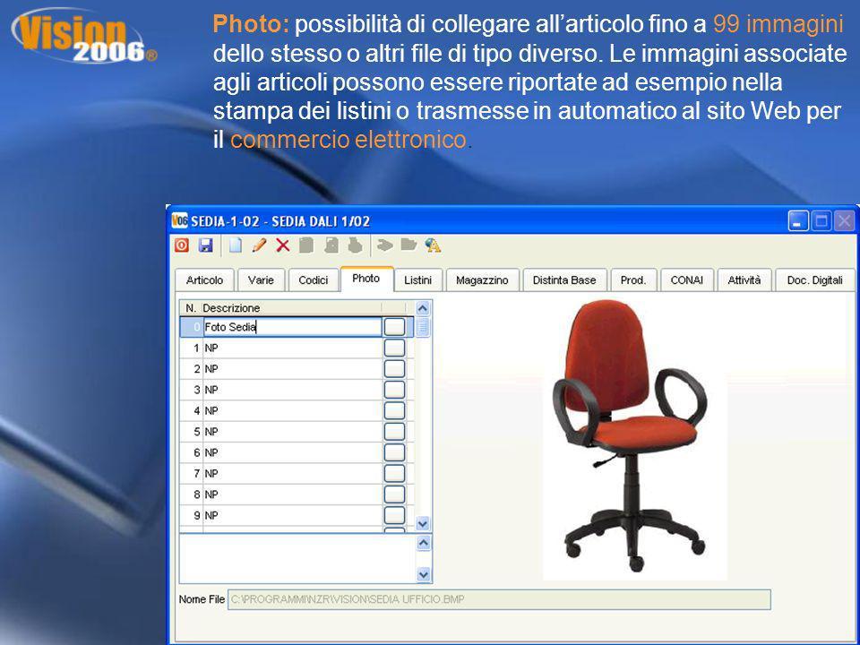 Photo: possibilità di collegare allarticolo fino a 99 immagini dello stesso o altri file di tipo diverso. Le immagini associate agli articoli possono