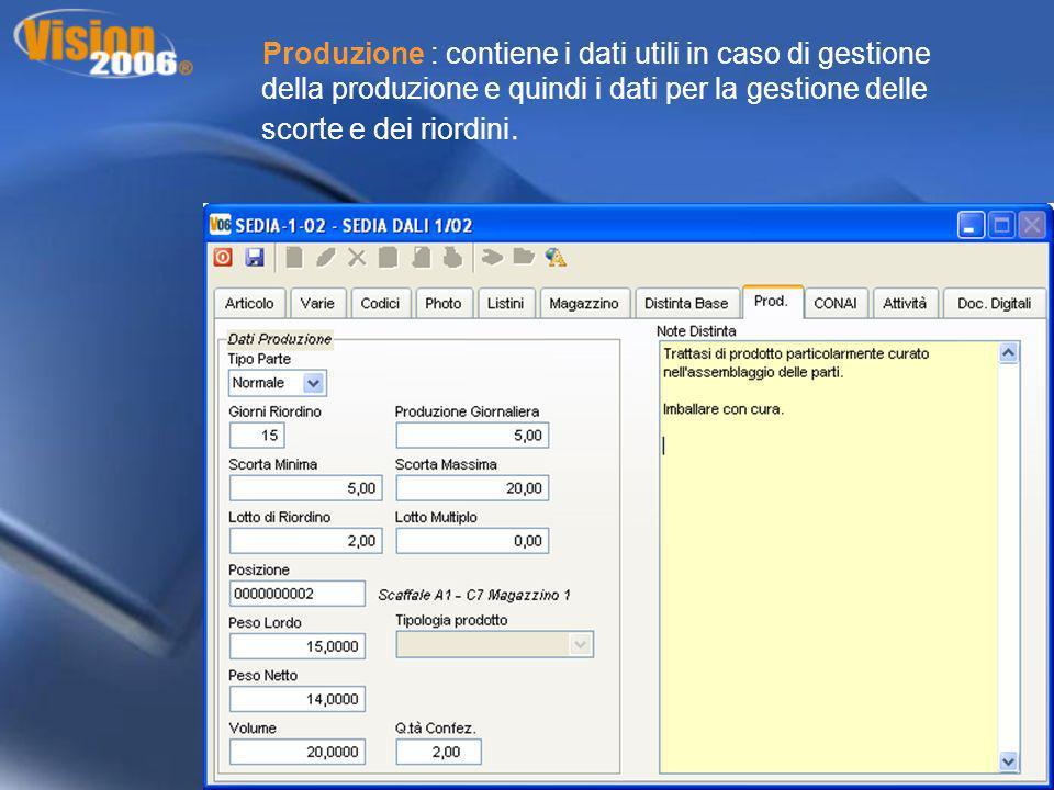 Produzione : contiene i dati utili in caso di gestione della produzione e quindi i dati per la gestione delle scorte e dei riordini.