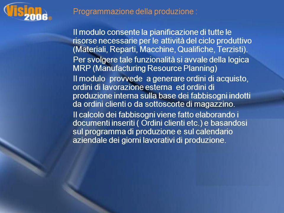 Programmazione della produzione : Il modulo consente la pianificazione di tutte le risorse necessarie per le attività del ciclo produttivo (Materiali,