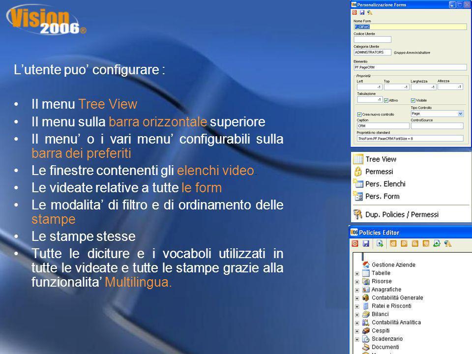 Lutente puo configurare : Il menu Tree View Il menu sulla barra orizzontale superiore Il menu o i vari menu configurabili sulla barra dei preferiti Le