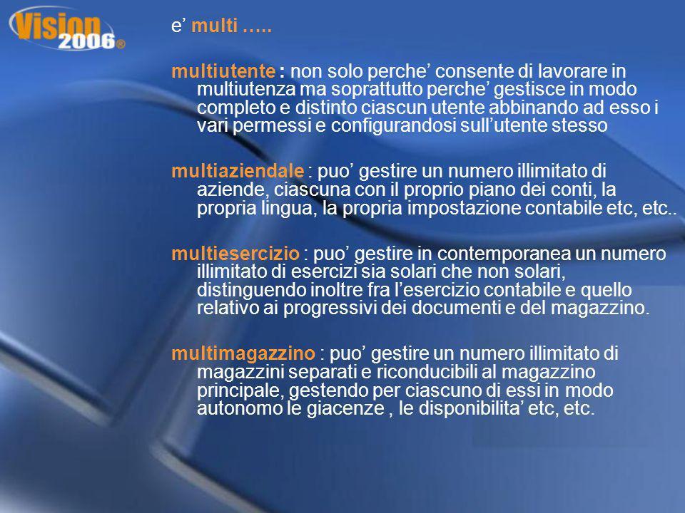 e multi ….. multiutente : non solo perche consente di lavorare in multiutenza ma soprattutto perche gestisce in modo completo e distinto ciascun utent