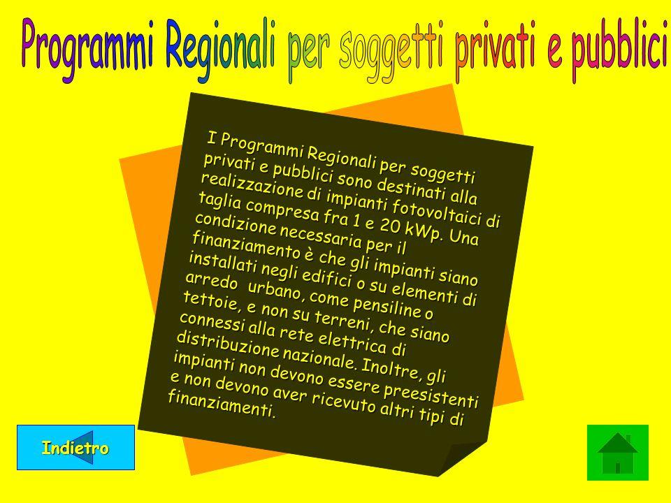 Indietro I Programmi Regionali per soggetti privati e pubblici sono destinati alla realizzazione di impianti fotovoltaici di taglia compresa fra 1 e 2