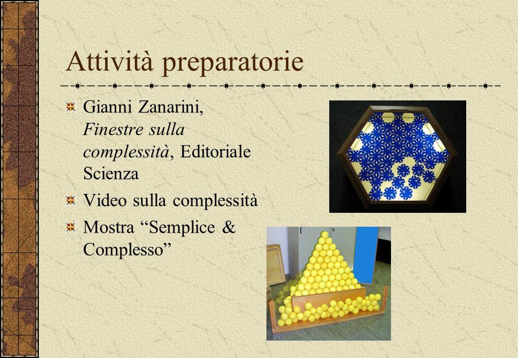 Attività preparatorie Gianni Zanarini, Finestre sulla complessità, Editoriale Scienza Video sulla complessità Mostra Semplice & Complesso