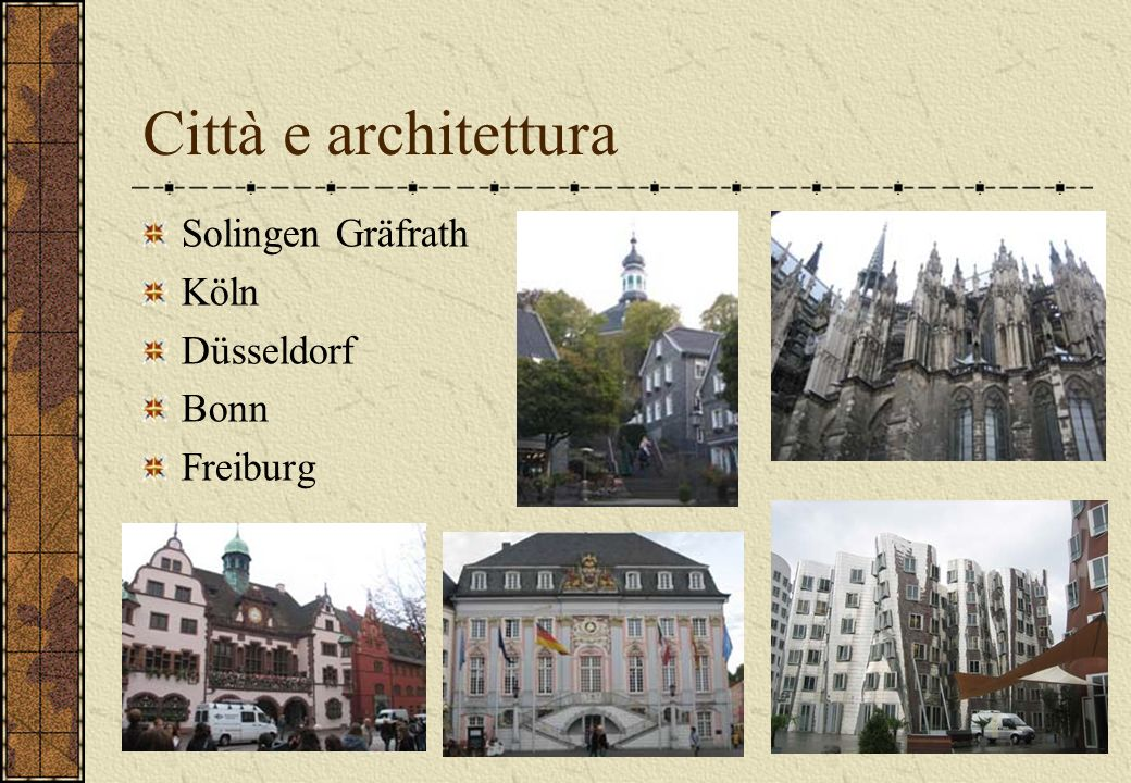 Città e architettura Solingen Gräfrath Köln Düsseldorf Bonn Freiburg