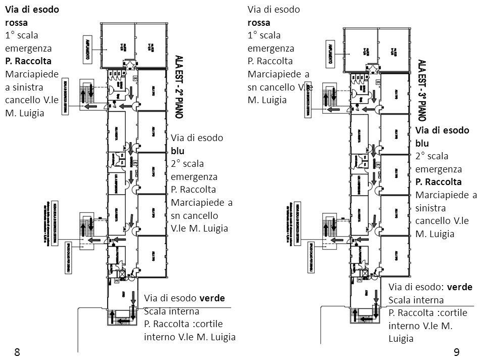 89 Via di esodo rossa 1° scala emergenza P. Raccolta Marciapiede a sinistra cancello V.le M. Luigia Via di esodo blu 2° scala emergenza P. Raccolta Ma