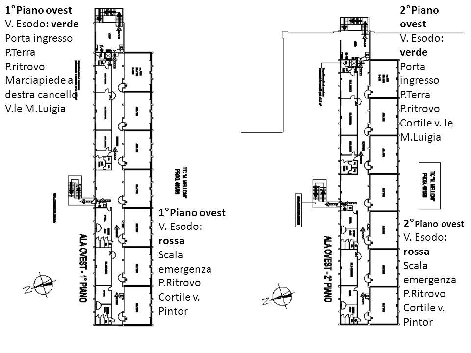 1°Piano ovest V. Esodo: verde Porta ingresso P.Terra P.ritrovo Marciapiede a destra cancello V.le M.Luigia 2°Piano ovest V. Esodo: verde Porta ingress