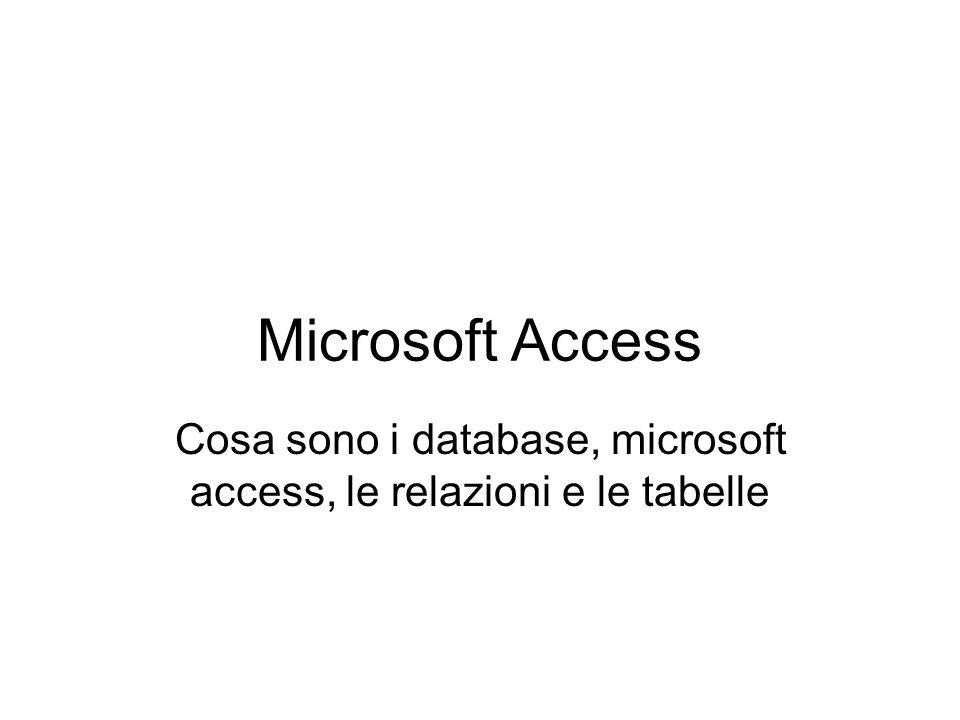 Microsoft Access Cosa sono i database, microsoft access, le relazioni e le tabelle
