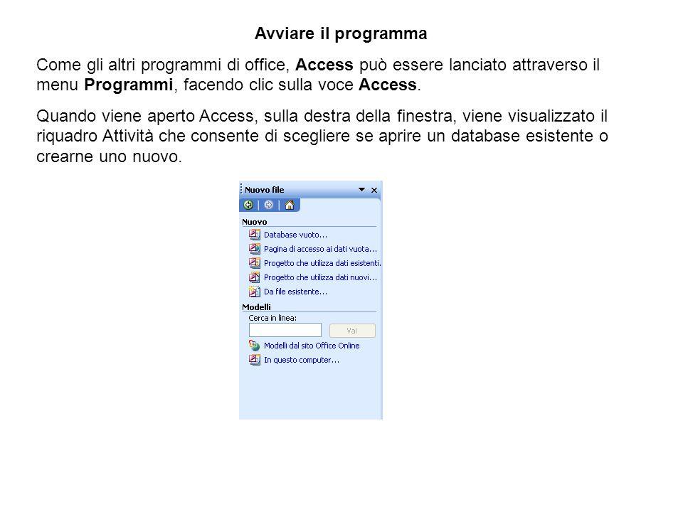 Avviare il programma Come gli altri programmi di office, Access può essere lanciato attraverso il menu Programmi, facendo clic sulla voce Access. Quan