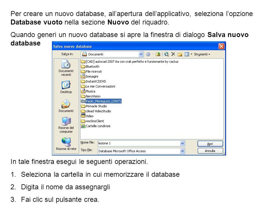 Per creare un nuovo database, allapertura dellapplicativo, seleziona lopzione Database vuoto nella sezione Nuovo del riquadro. Quando generi un nuovo