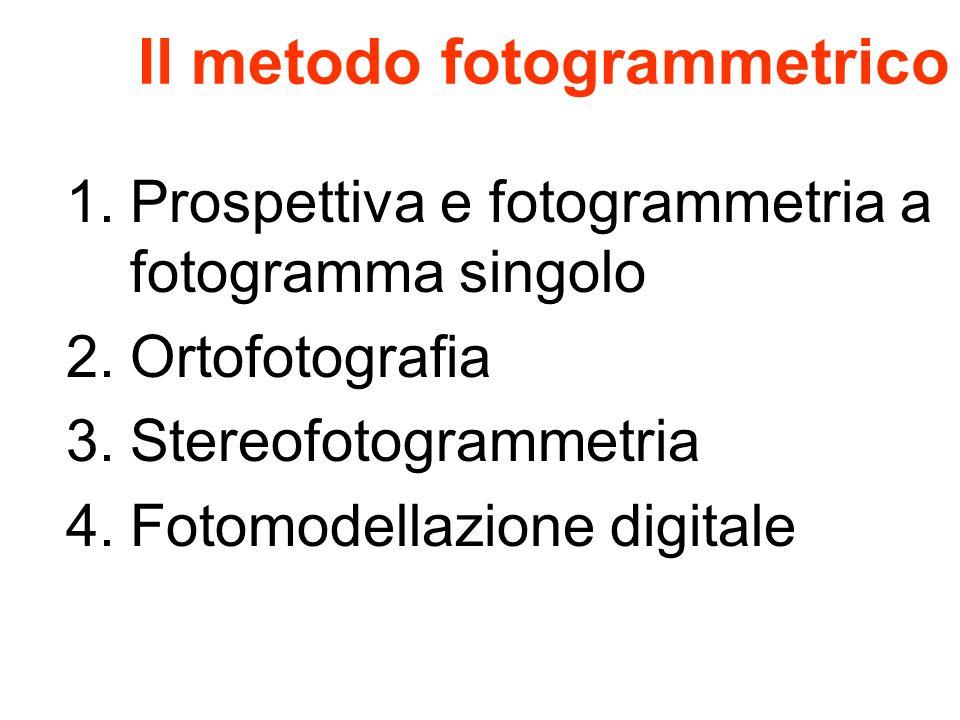 Il metodo fotogrammetrico 1.Prospettiva e fotogrammetria a fotogramma singolo 2.Ortofotografia 3.Stereofotogrammetria 4.Fotomodellazione digitale