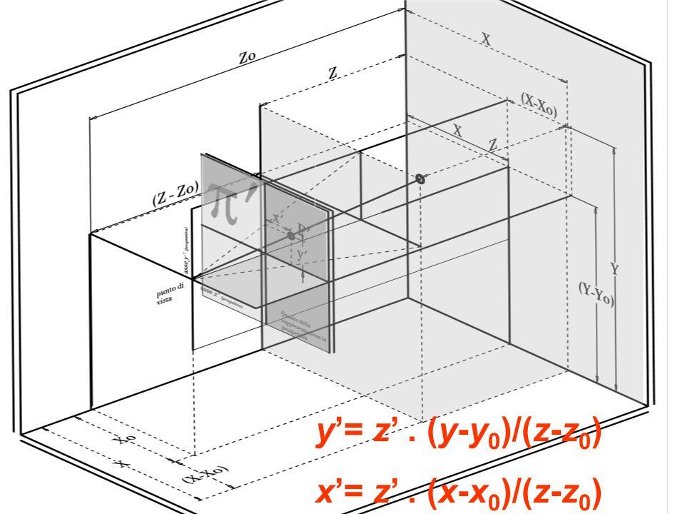 y= z. (y-y 0 )/(z-z 0 ) x= z. (x-x 0 )/(z-z 0 )
