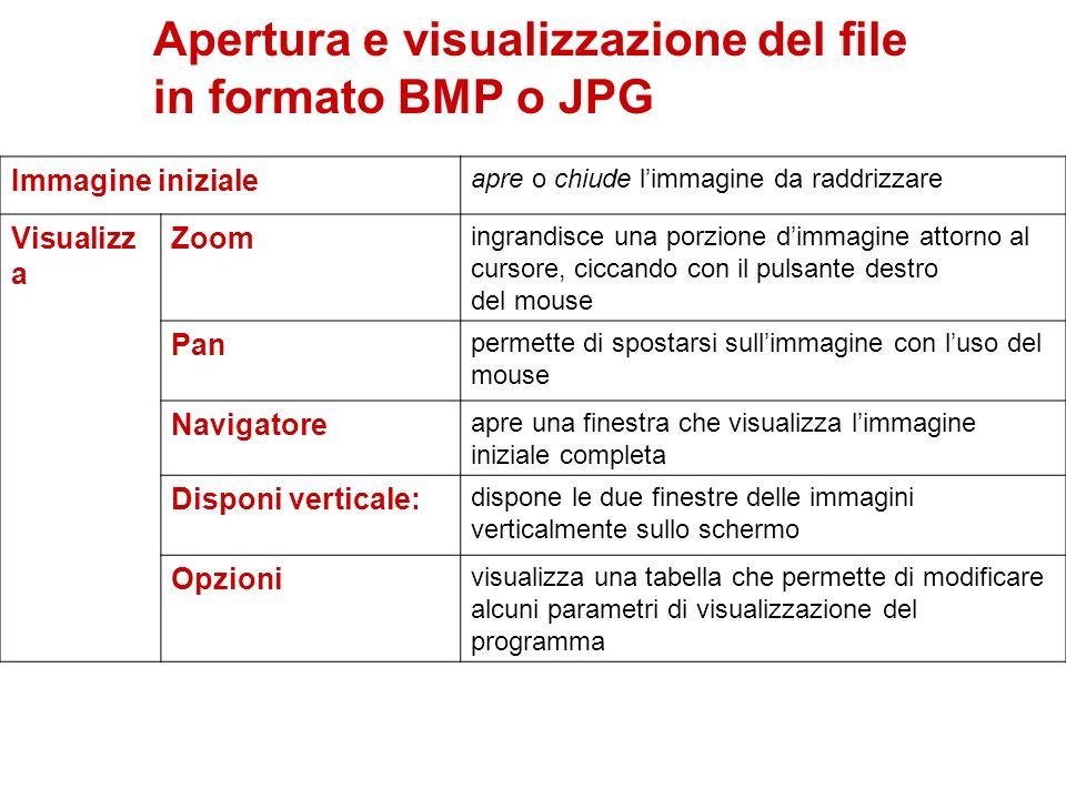 Apertura e visualizzazione del file in formato BMP o JPG Immagine iniziale apre o chiude limmagine da raddrizzare Visualizz a Zoom ingrandisce una por