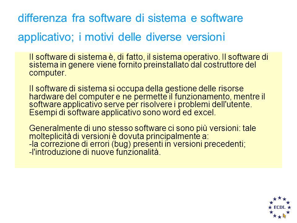 differenza fra software di sistema e software applicativo; i motivi delle diverse versioni Il software di sistema è, di fatto, il sistema operativo.