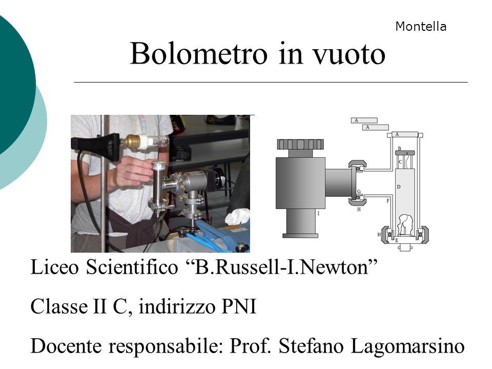 Bolometro in vuoto Liceo Scientifico B.Russell-I.Newton Classe II C, indirizzo PNI Docente responsabile: Prof. Stefano Lagomarsino Montella