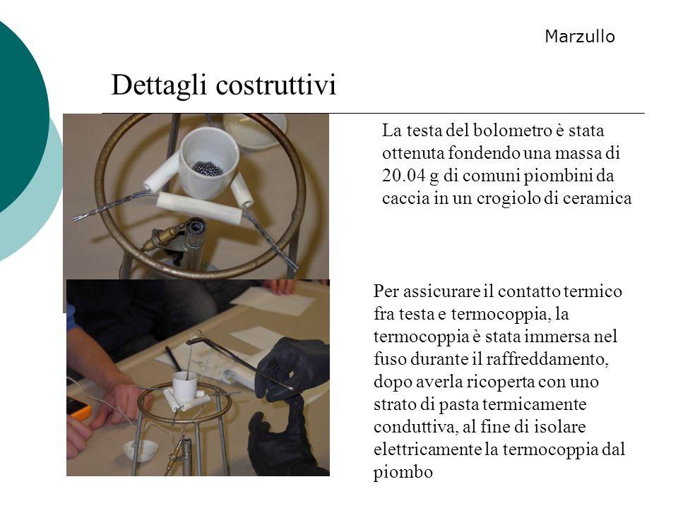 Dettagli costruttivi La testa del bolometro è stata ottenuta fondendo una massa di 20.04 g di comuni piombini da caccia in un crogiolo di ceramica Per