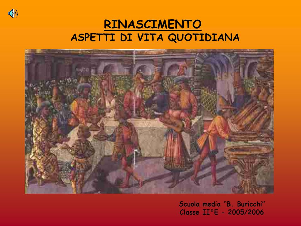 RINASCIMENTO ASPETTI DI VITA QUOTIDIANA Scuola media B. Buricchi Classe II°E - 2005/2006