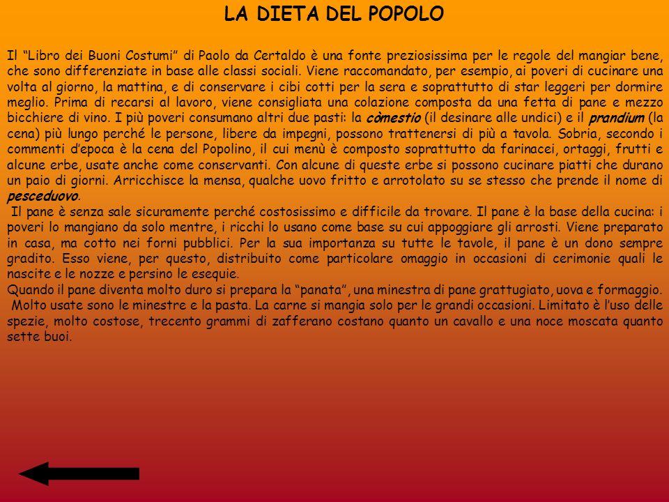 LA DIETA DEL POPOLO Il Libro dei Buoni Costumi di Paolo da Certaldo è una fonte preziosissima per le regole del mangiar bene, che sono differenziate i