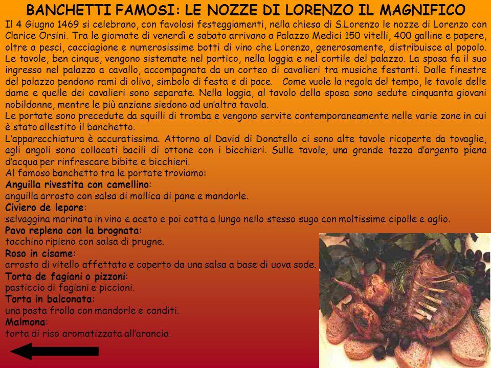 BANCHETTI FAMOSI: LE NOZZE DI LORENZO IL MAGNIFICO Il 4 Giugno 1469 si celebrano, con favolosi festeggiamenti, nella chiesa di S.Lorenzo le nozze di L