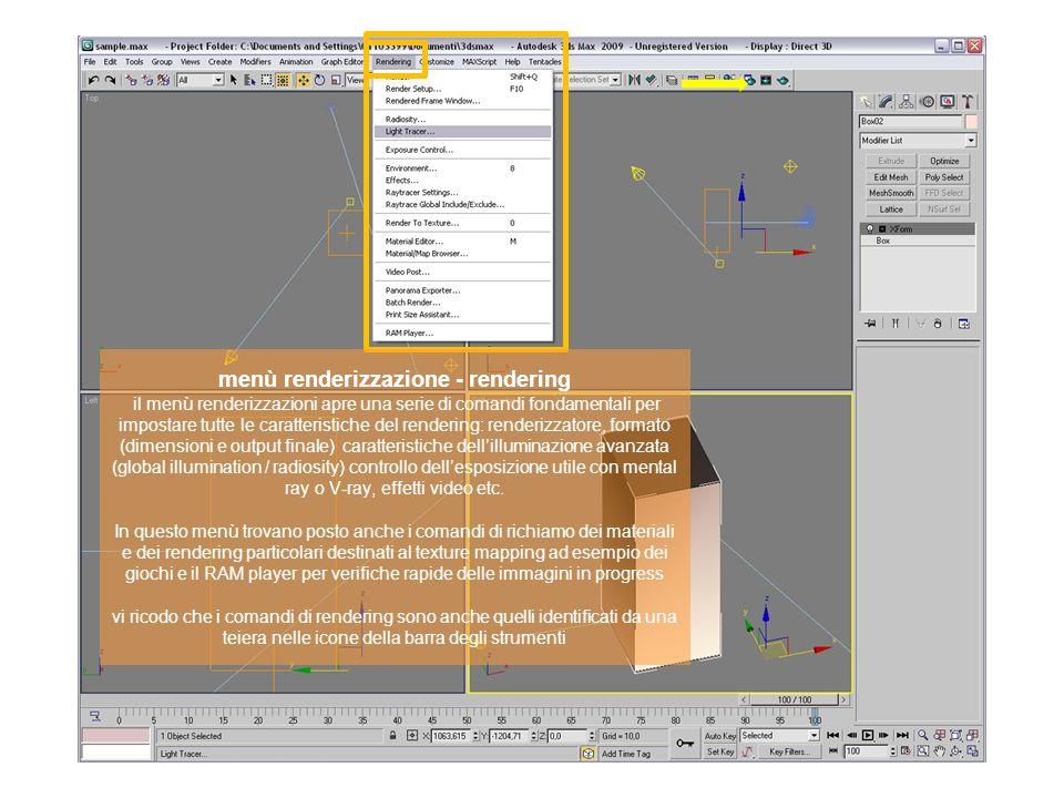 menù renderizzazione - rendering il menù renderizzazioni apre una serie di comandi fondamentali per impostare tutte le caratteristiche del rendering: