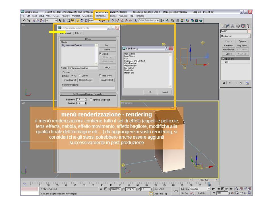 menù renderizzazione - rendering il menù renderizzazioni contiene tutto il set di effetti (capelli e pelliccie, lens-effects, nebbia, effetto moviment