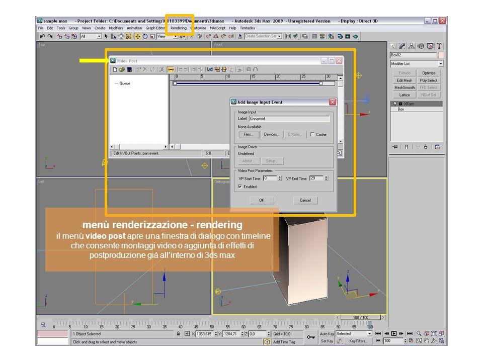 menù renderizzazione - rendering il menù video post apre una finestra di dialogo con timeline che consente montaggi video o aggiunta di effetti di pos