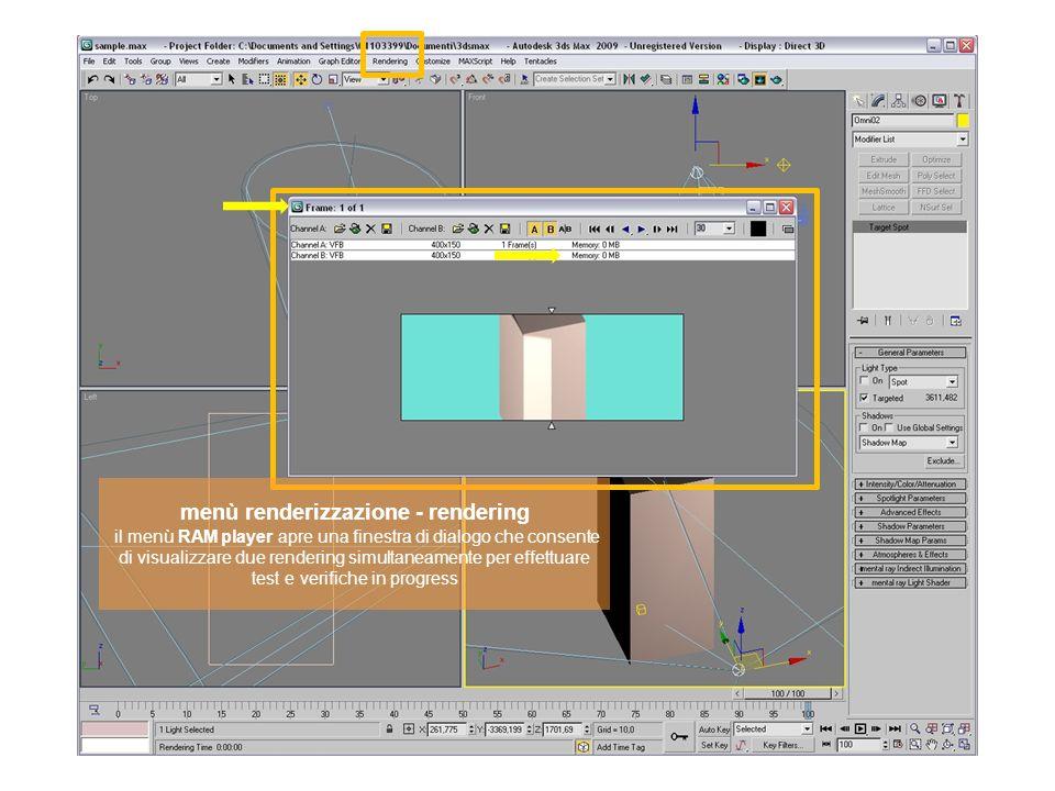 menù renderizzazione - rendering il menù RAM player apre una finestra di dialogo che consente di visualizzare due rendering simultaneamente per effett