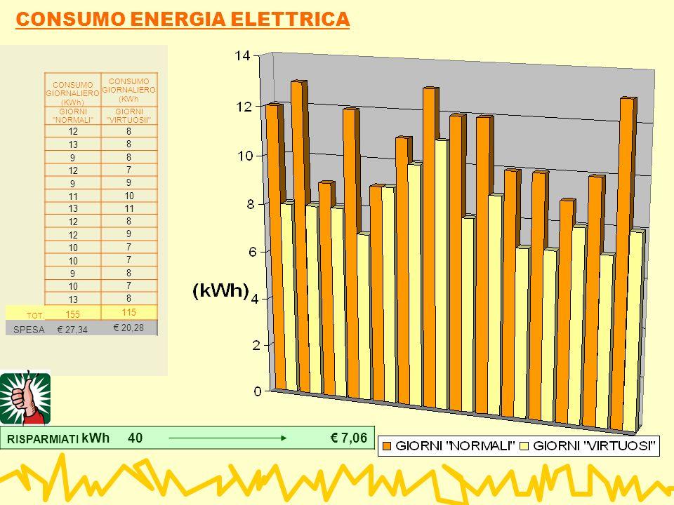 CONSUMO ENERGIA ELETTRICA CONSUMO GIORNALIERO (KWh) CONSUMO GIORNALIERO (KWh GIORNI NORMALI GIORNI VIRTUOSII 12 8 13 8 9 8 12 7 9 9 11 10 13 11 12 8 9 10 7 7 9 8 7 13 8 TOT.