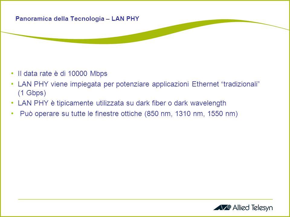 Panoramica della Tecnologia – LAN PHY Il data rate è di 10000 Mbps LAN PHY viene impiegata per potenziare applicazioni Ethernet tradizionali (1 Gbps) LAN PHY è tipicamente utilizzata su dark fiber o dark wavelength Può operare su tutte le finestre ottiche (850 nm, 1310 nm, 1550 nm)