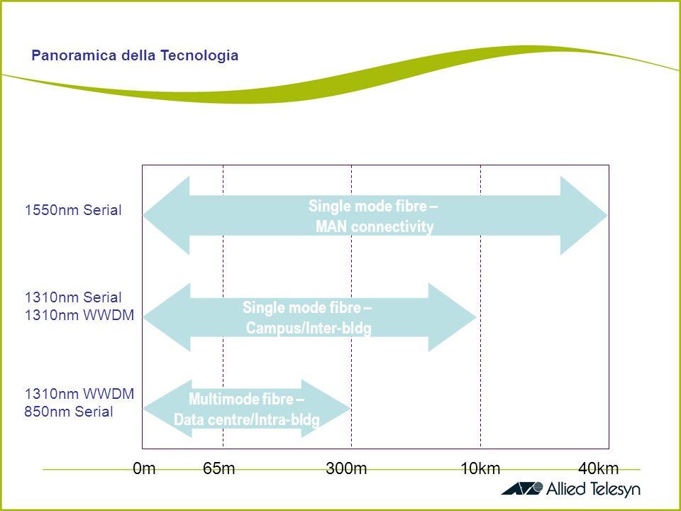 Benefici di 10Gb Ethernet Supporta lintelligenza dei layer superiori (Layer 3 Layer 7) e ne potenzia i servizi (data-voce-video) Favorisce crescita e scalabilità di ogni Network (Enterprise, Provider, Carrier) Valorizza la base di installato Ethernet esistente Integra LAN, MAN and WAN in un unico Network end-to-end con tutte le caratteristiche distintive di Ethernet (semplice, economico..) Supporta le performance di backbone MAN/WAN basati su OC192/SDH.