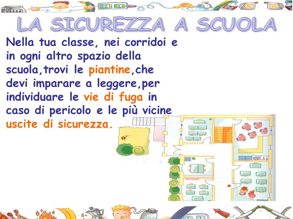 Nella tua classe, nei corridoi e in ogni altro spazio della scuola,trovi le piantine,che devi imparare a leggere,per individuare le vie di fuga in caso di pericolo e le più vicine uscite di sicurezza.