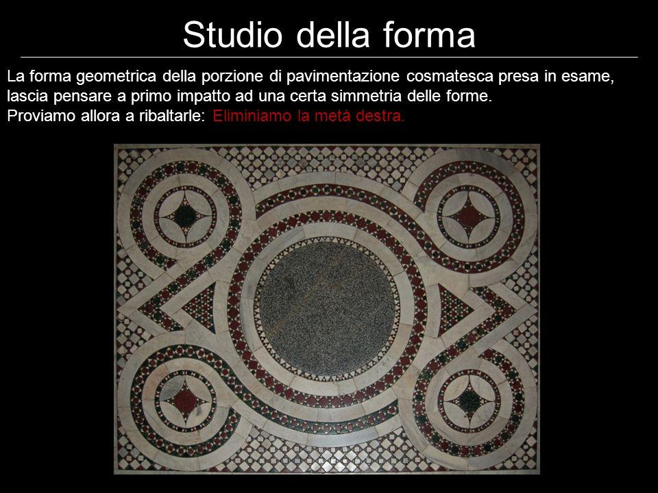 Studio della forma La forma geometrica della porzione di pavimentazione cosmatesca presa in esame, lascia pensare a primo impatto ad una certa simmetria delle forme.