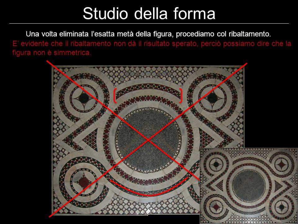 Abbiamo dimostrato che la figura è il risultato di una semplice rotazione Studio della forma Abbiamo dimostrato che la figura non è simmetrica, proviamo a questo punto a dimostrare se la composizione è frutto di una semplice rotazione delle figure: