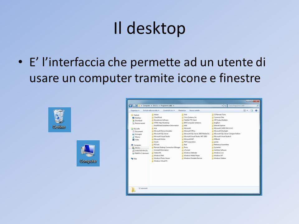 Il desktop E linterfaccia che permette ad un utente di usare un computer tramite icone e finestre