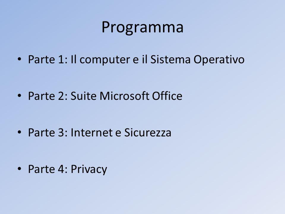 Programma Parte 1: Il computer e il Sistema Operativo Parte 2: Suite Microsoft Office Parte 3: Internet e Sicurezza Parte 4: Privacy