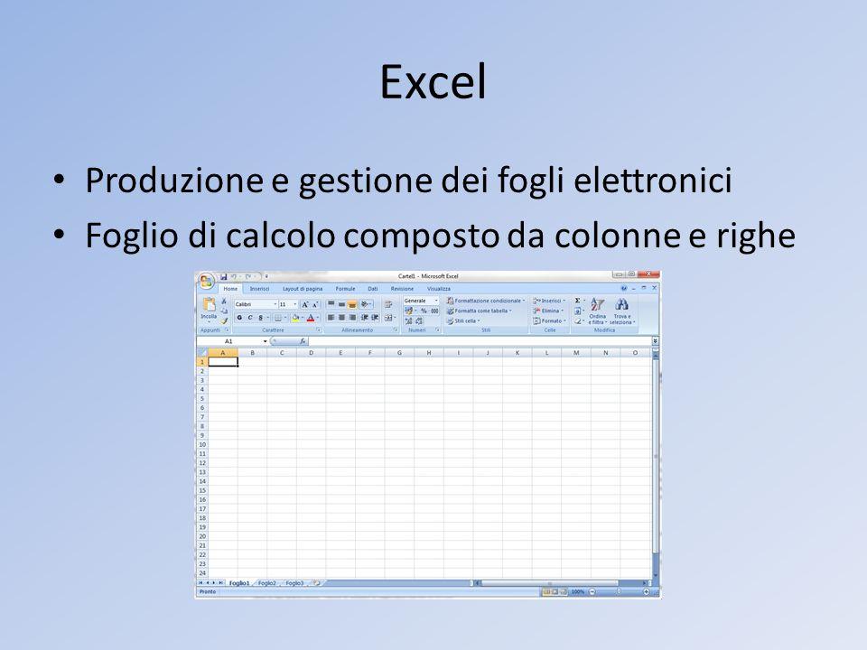Excel Produzione e gestione dei fogli elettronici Foglio di calcolo composto da colonne e righe