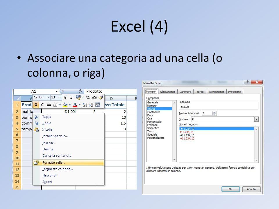 Excel (4) Associare una categoria ad una cella (o colonna, o riga)