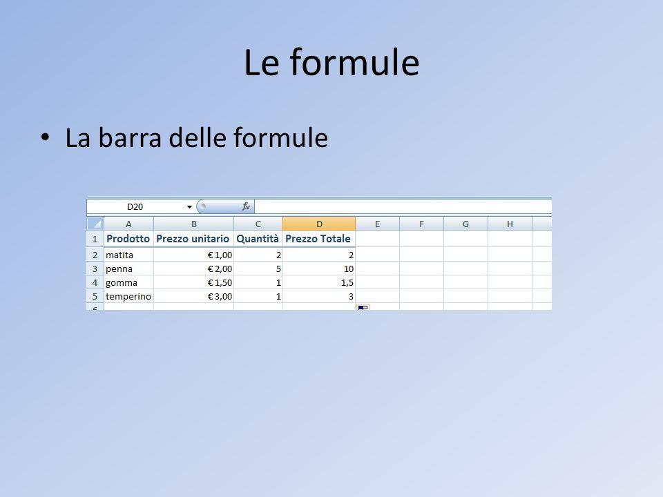 Le formule La barra delle formule