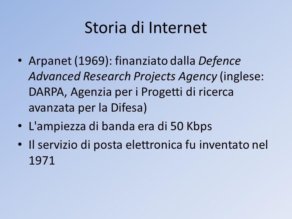 Storia di Internet Arpanet (1969): finanziato dalla Defence Advanced Research Projects Agency (inglese: DARPA, Agenzia per i Progetti di ricerca avanz
